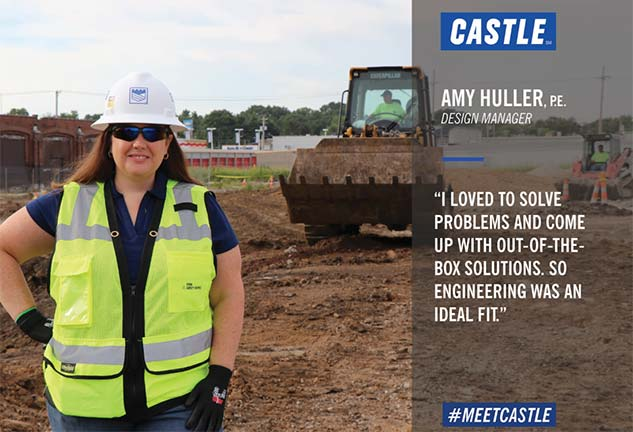 amy huller on a job site with quote about solving problems