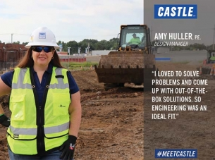 amy huller in yellow vest and hard hat with quote about loving problem solving