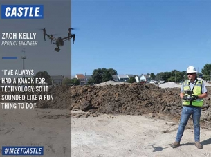 Zach Kelly Flying a Drone on a Job Site